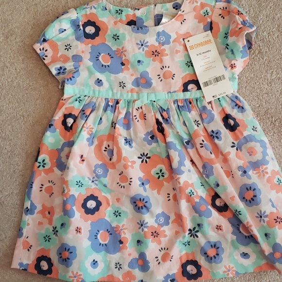 Peach blue and green flowered dress